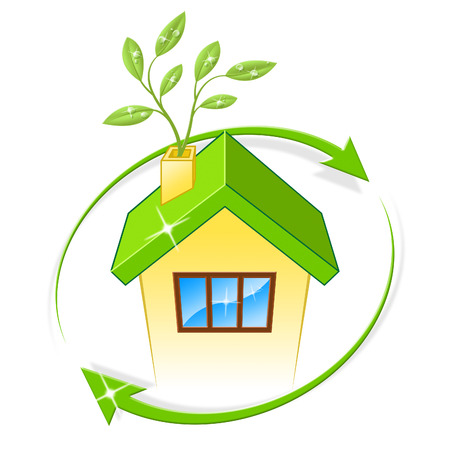 earth friendly: House Eco Meaning Earth Friendly And Building Stock Photo