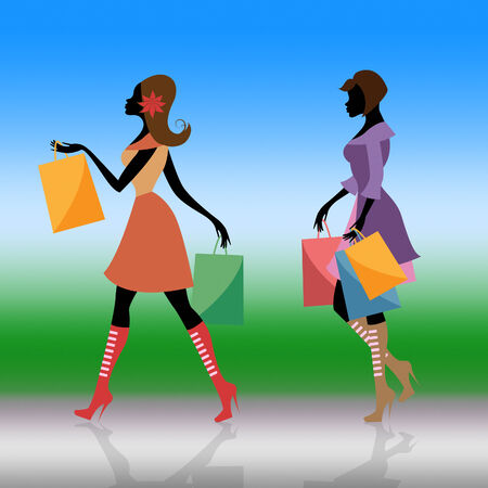 sales person: Shopper Shopping Representing Retail Sales And Person