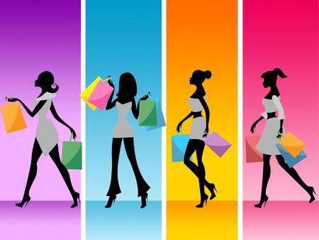merchandiser: Shopping Women Indicating Retail Sales And Customer