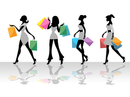 merchandiser: Shopping Women Meaning Commercial Activity And Store