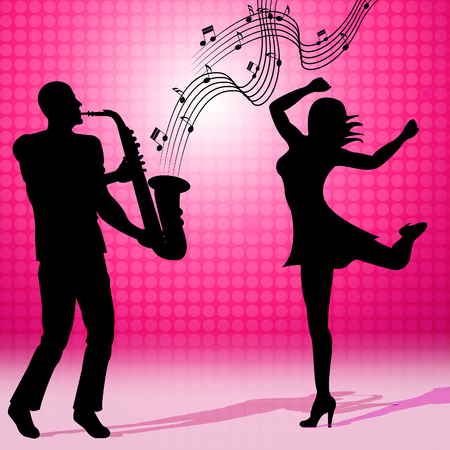 soundtrack: Saxophone Dancing Meaning Sound Track And Musical Stock Photo