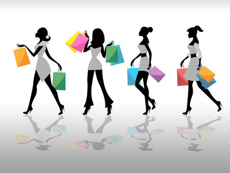 merchandiser: Women Shopping Representing Retail Sales And Selling Stock Photo
