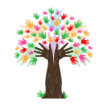 handprints: Hands Handprints Indicating Tree Trunk And Rising
