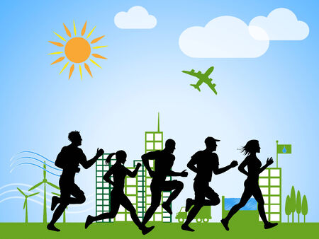 get a workout: City Jogging Meaning Get Fit And Fitness