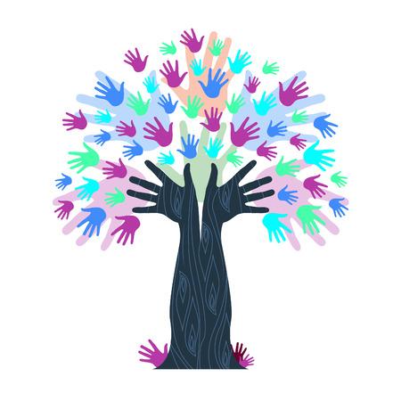 木の幹を示す手形を手でカラフルな