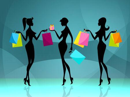 merchandiser: Shopper Women Representing Commercial Activity And Consumerism