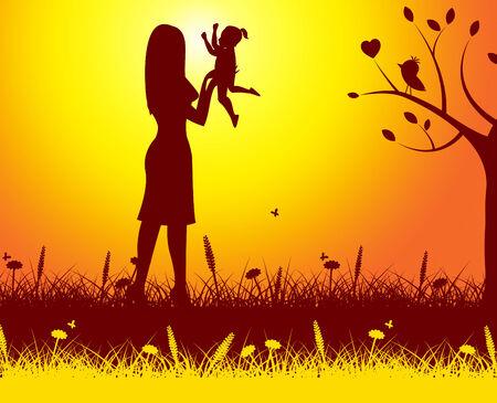 hijos: Naturaleza Madre Indicando Offspring Verde y al aire libre