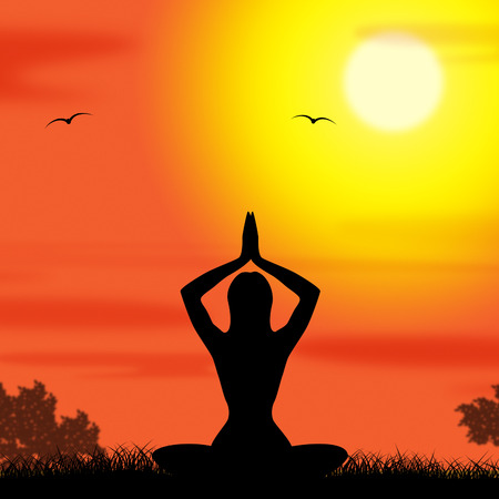 Yoga Pose Showing Enlightenment Countryside And Harmony