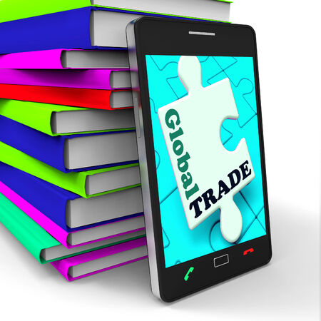 global trade: Global Trade Smartphone Meaning Online Worldwide Commerce
