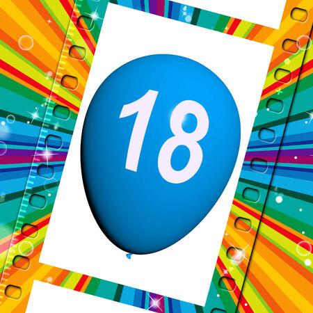 eighteenth: Balloon Representing Eighteenth Happy Birthday Celebrations Stock Photo