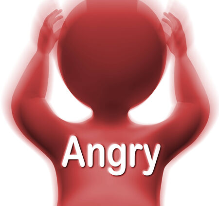 outraged: Angry Man Meaning Mad Outraged Or Furious