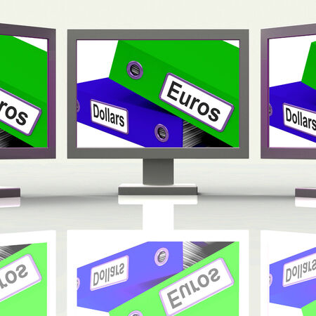 currency exchange: Dollar And Euros Folders Screen Showing Global Currency Exchange Stock Photo