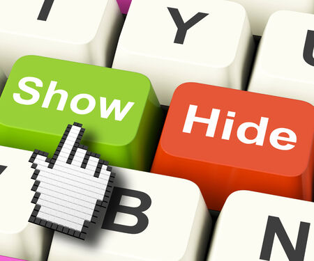'hide out': Show Hide Computer Keys Meaning On Display And Out Of Sight