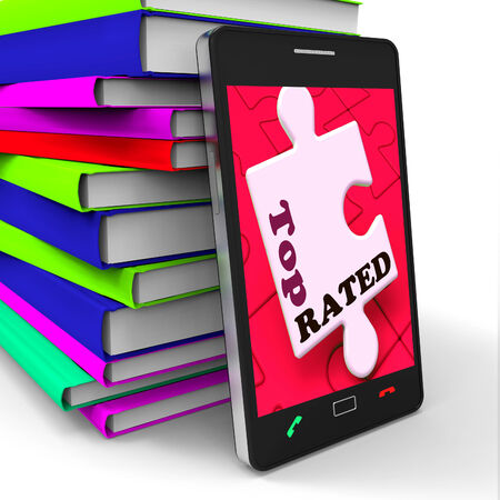 rated: Top Rated Smartphone Showing Internet Number One Or Best Seller Stock Photo