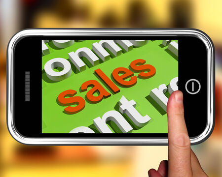 Sales In Word Cloud Phone Showing Promotions And Deals photo