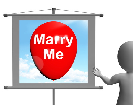 proposed: Marry Me Sign Representing Lovers Proposed Engagement