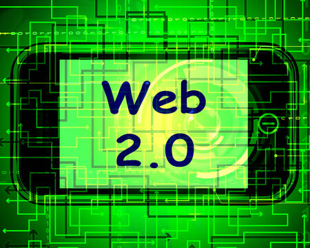 web technology: Web 2.0 On Screen Meaning Net Web Technology And Network Stock Photo