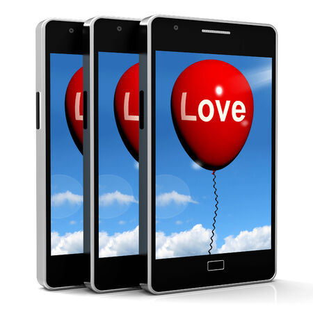 with fondness: Love Balloon Showing Fondness and Affectionate Feelings Stock Photo