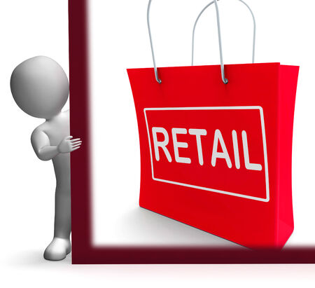 merchandiser: Retail Shopping Sign Shows Buying Selling Merchandise Sales