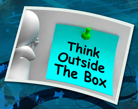 outside the box thinking: Think Outside The Box Photo Means Different Unconventional Thinking Stock Photo