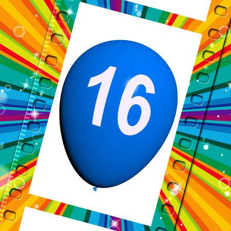 sweet sixteen: Balloon Showing Sweet Sixteen Birthday Partying
