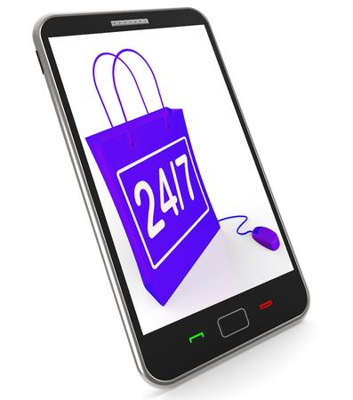 24x7: Twenty-four Seven Bag Representing Online Shopping Availability