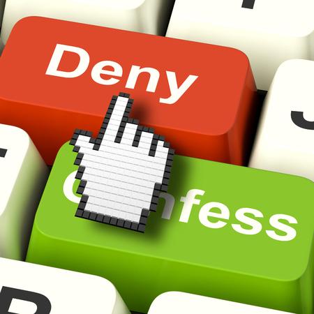 confessing: Denial Deny Keys Showing Guilt Or Denying Guilt Online