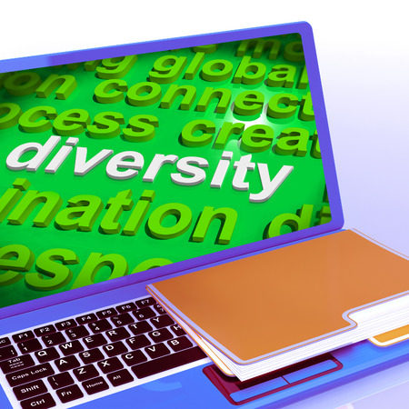 diversify: Diversity Word Cloud Laptop Showing Multicultural Diverse Culture Stock Photo