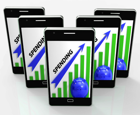 outgoings: Spending Graph Phone Meaning Costs Expenses And Outlay Stock Photo