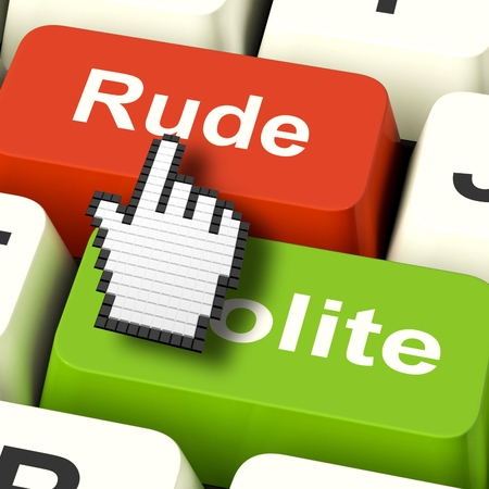 bad manners: Rude Impolite Computer Meaning Insolence Bad Manners