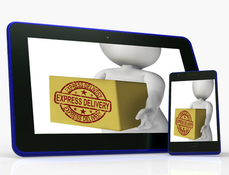 delivers: Express Delivery Box Meaning Sends And Delivers Quickly Stock Photo