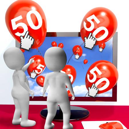 number 50: N�mero 50 Globos de monitor Mostrando Invitaci�n Internet o celebraci�n