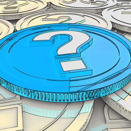 speculation: Question Mark Coin Showing Speculation About Finance