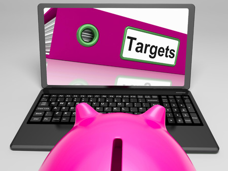 setting goal: Targets Laptop Meaning Aims Objectives And Goal setting