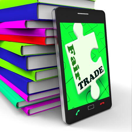 fairtrade: Fair Trade Smartphone Showing Purchasing Ethical Fairtrade Goods