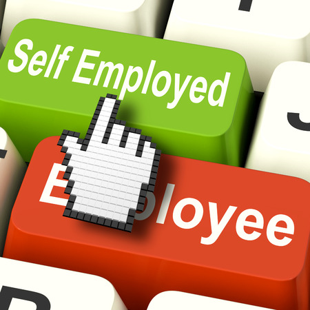 self employed: Self Employed Computer Meaning Choose Career Job Choice Stock Photo
