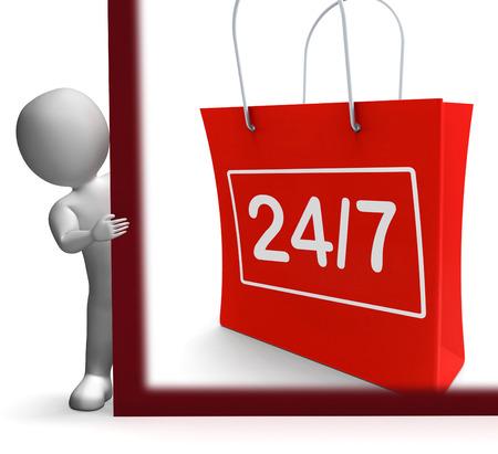 24x7: Twenty Four Seven Shopping Sign Showing Open 247