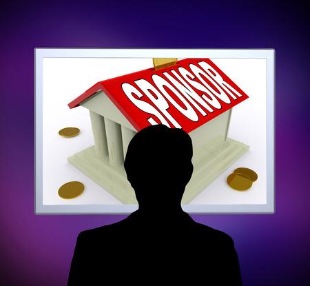 sponsor: Sponsor On House Or Money Box Man Meaning Sponsoring Home