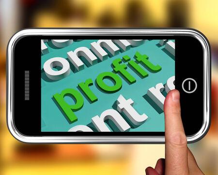 rentable: Beneficio En Word Cloud Mostrando ingresos rentables y Ganancias