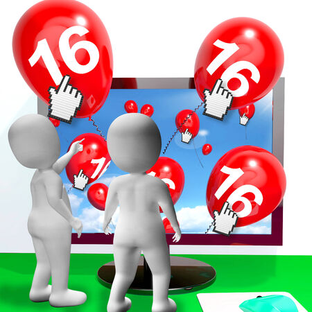 sweet sixteen: Number 16 Balloons from Monitor Showing Internet Invitation or Celebration