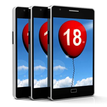 eighteenth: Balloon Phone Representing Eighteenth Happy Birthday Celebration Stock Photo