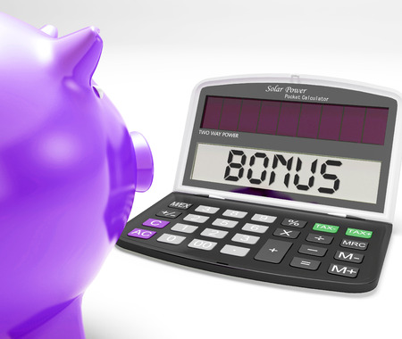 perks: Bonus Calculator Showing Perks Extra Or Incentive Stock Photo
