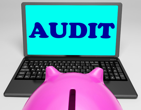 scrutiny: Audit Laptop Meaning Auditor Scrutiny And Analysis Stock Photo