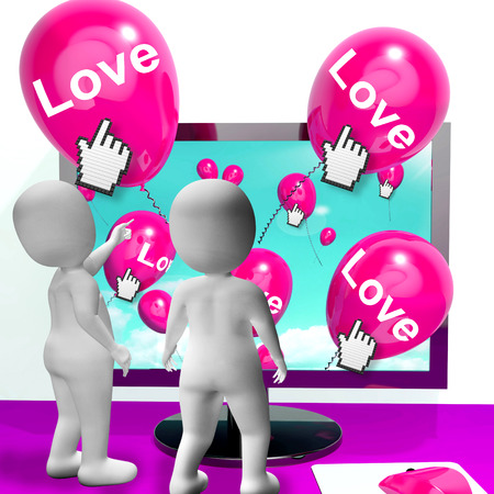 with fondness: Love Balloon Showing Internet Fondness and Affectionate Greetings Stock Photo
