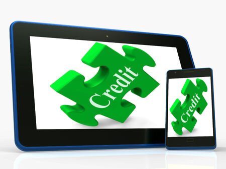 borrowing: Credit Smartphone Showing Financial Loan And Borrowing Money Stock Photo