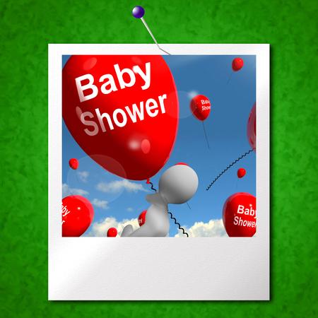 festividades: Baby Shower Globos Foto Mostrando Partes alegres y Fiestas