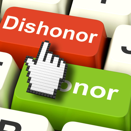 disgrace: Dishonor Honor Computer Showing Integrity And Morals