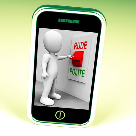 bad manners: Rude Polite Switch Meaning Good Bad Manners Stock Photo