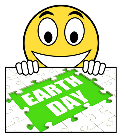 Earth Day Sign Showing Environmentally Friendly Sustainable And Renewable photo