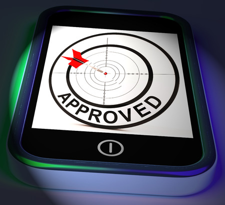 endorsed: Approved Smartphone Displaying Accepted Authorised Or Endorsed Stock Photo